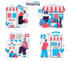 Online shopping concept set people isolated scenes in flat design vector