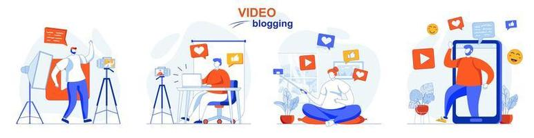 Video blogging concept set people isolated scenes in flat design vector