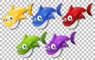 Set of many smiling cute shark cartoons vector