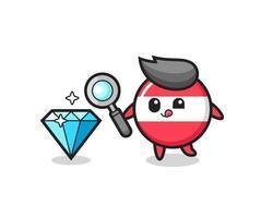 La mascota de la insignia de la bandera de Austria está comprobando la autenticidad de un diamante. vector