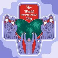cartel de la campaña del día mundial humanitario vector