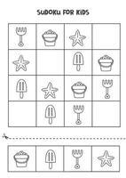 juego de sudoku para niños con lindos elementos veraniegos en blanco y negro. vector