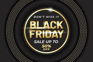 Black friday sale banner template with black and gold luxury style vector