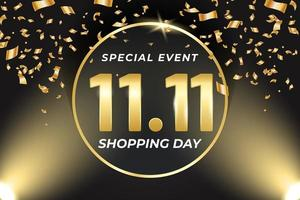 11.11 Shopping festival sale banner with gold element vector