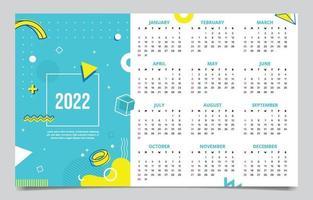 2022 Calendar Green Memphis Style Template vector