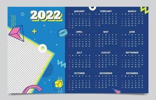 2022 Calendar Memphis Style Mockup Template vector