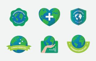 World Humanitarian Day Stiker Set vector