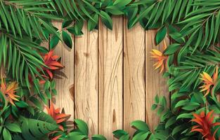 Wood and Foliage Background Template vector