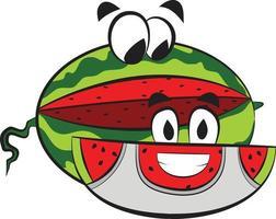 Cute Summer Fruit Watermelon. Healthy Fresh Delicious Summer Fruit. vector