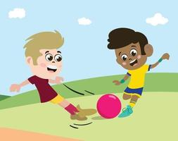 Mixed Race Kids playing football or soccer vector