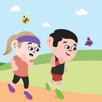 Couple Running in Park. Healthy living Jogging Vector. vector