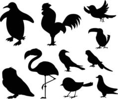 Black Bird Silhouette Against White Background No Sky. Free Vector