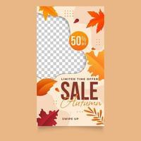 Gradient autumn sale for social media stories template vector