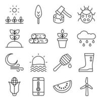 Pack of Nature and Agriculture Linear Icons vector