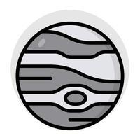 A flat design, icon of jupiter vector