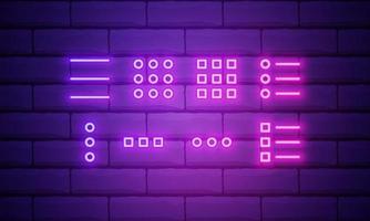 App menu color glowing neon vector icon. Set of menu buttons