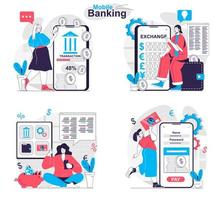 Mobile banking concept set people isolated scenes in flat design vector