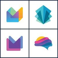 set bundle abstract full color, stack color vector