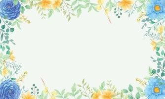 Beautiful floral watercolor background frame vector