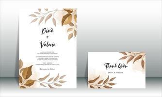 Beautiful wedding invitation card with leaf decoration vector