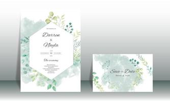 Elegant wedding invitation template with watercolor leaves vector