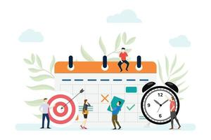 business planning concept with people manage schedule vector