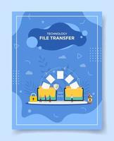 technology file transfer concept people around folder archive data vector