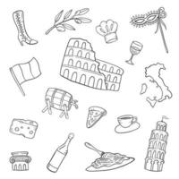 italy country nation doodle hand drawn set collections vector