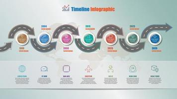 Business roadmap timeline infographic with 7 steps circle vector
