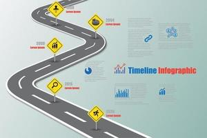 Business roadmap timeline infographic with road sign vector