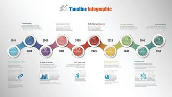 Business roadmap timeline infographic with 10 steps circle vector