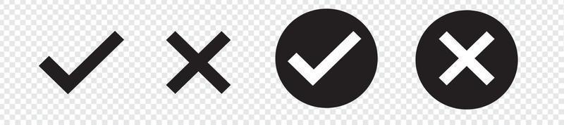 Check mark, Cross mark black icon set. vector