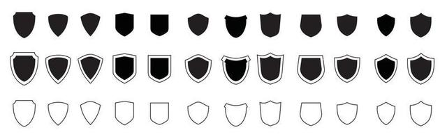 Shield black icons set. Protect shields silhouette collection. vector