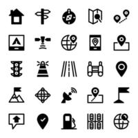 Navigation Icon Pack With Line Style vector
