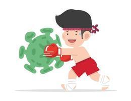 dibujos animados lindo muay thai boxeador lucha corona virus vector