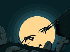 el esqueleto está resucitando en la tumba para el fondo de pantalla de halloween. vector