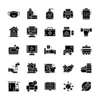 conjunto de iconos de cuarentena con estilo de glifo. vector