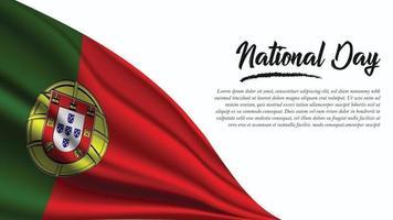 banner del día nacional con fondo de bandera de portugal vector