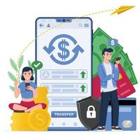 Two people making a money transfer vector