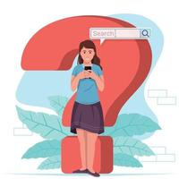 Young woman searching the internet vector
