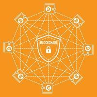 Bitcoin and Blockchain logo vector