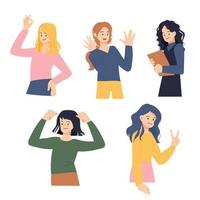 Collection of positive gestures of women. vector