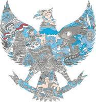 beautiful indonesia culture in garuda silhouette illustration vector