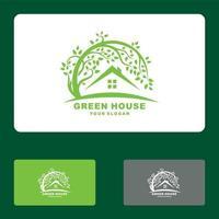 hoja de inicio, casa verde, logotipo de la casa ecológica conjunto de ilustración de icono de vector