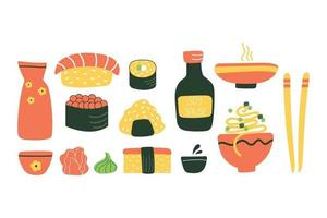 Set of japanese food. Flat illustration. vector