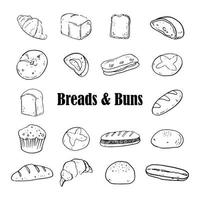 Breads and Buns Sketch drawing Black and White vector