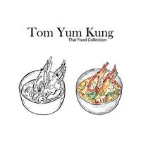 Tom Yum Kung, Shrimp spicy soup,  Drawing Sketch vector