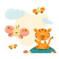 Cute cartoon tiger and butterflies vector