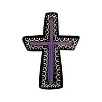 Cross, decorated with ethnic pattern. Vector illustration