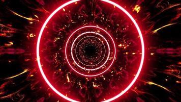 brinnande rött ljus och eldpartiklar tunnel bakgrund video